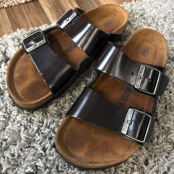 Birkenstock Black Amalfi Leather Soft Footbed